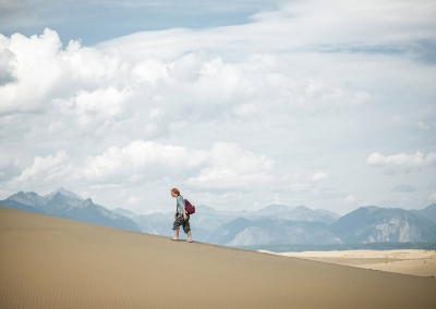 Hiking route in Chara sands. Transbaikal region. Russia