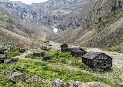 View on the remains of officer's homes. Marble Gorge. Transbaikal region. Russia