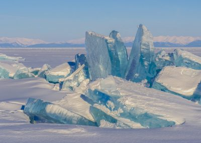 Ice ridges next to a mouth of Kurkula river. Lake Baikal. Republic of Buryatia