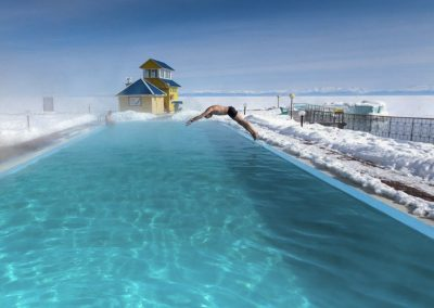 Kotelnikovsky hot spring swimming poll. Winter. Lake baikal. Republic of Buryatia