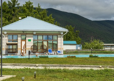 Bath house with smimming pool at hot springs Kotelnikovsky. The north of Lake Baikal. The republic of Buryatia. Russia