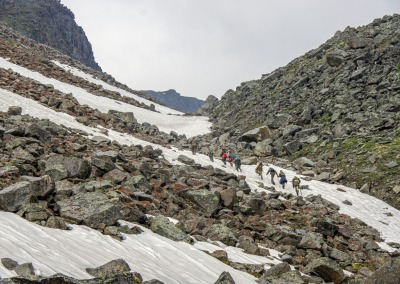 Ascent to the Moscow summit 2933 meters. The area of the Kodar mountains. Transbaikal region. Russia